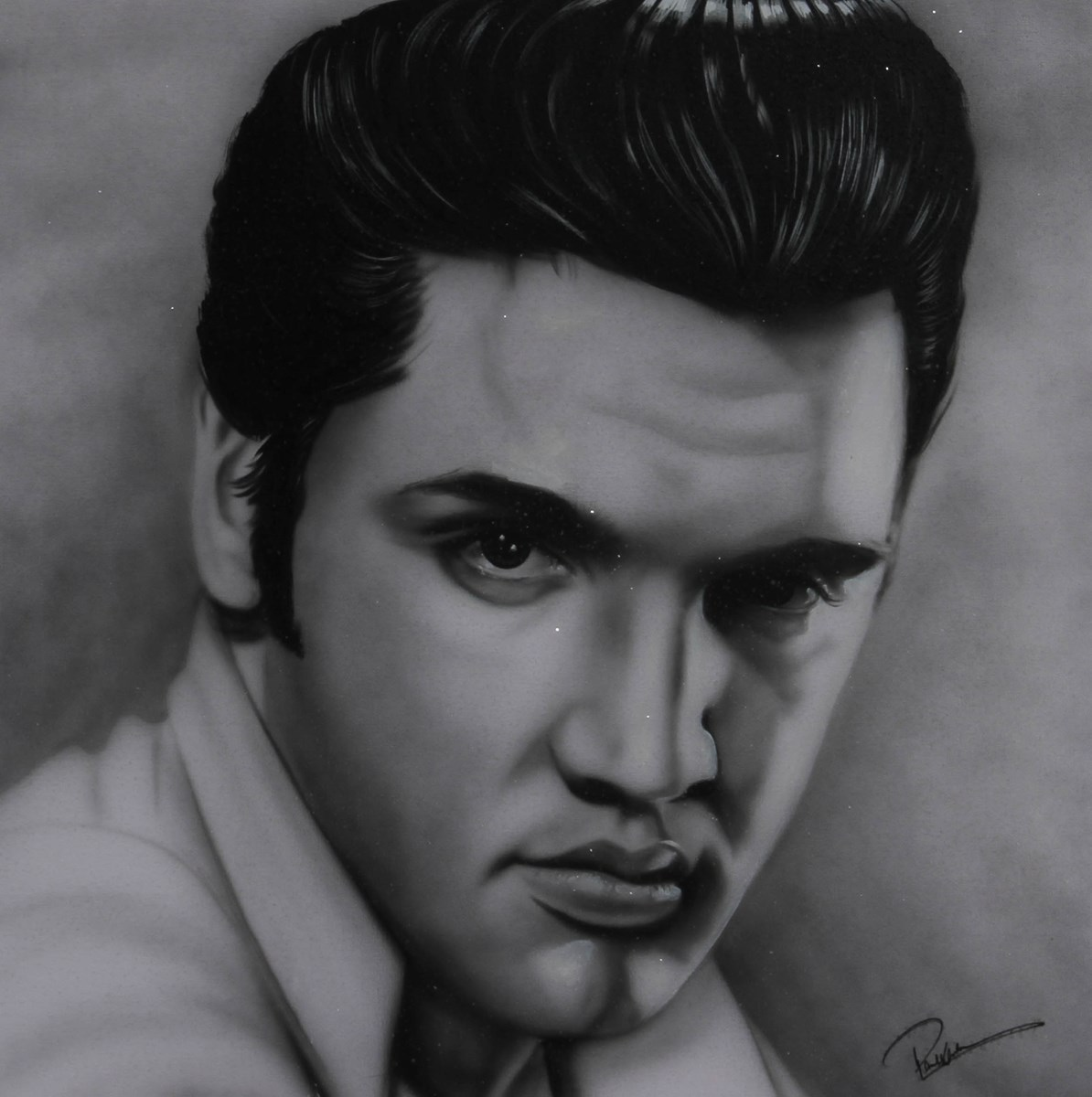 Elvis Presley II by paul karslake - Orig Monochrome Airbrush W/Diamond Dust on Canvas sized 30x30 inches. Available from Whitewall Galleries